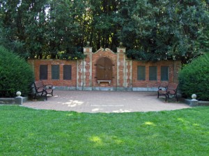 Shakespeare Garden in Golden Gate Park. John did tai chi on the bricks in front of the wall.